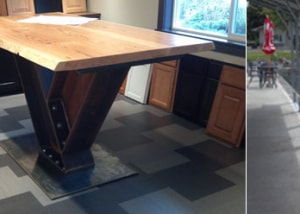 Custom Ironwork Table Frame | I-Beam Heavy | Rusty Plate & Custom Stainless Steel Countertop Shelf