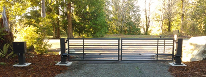 Custom Decorative Iron Driveway Gate | Powedercoated Brown | Automatic Opening