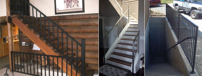 Custom Decorative Stair Handrail & Guardrail | Powdercoated Black & Brushed, Polished Stainless Steel
