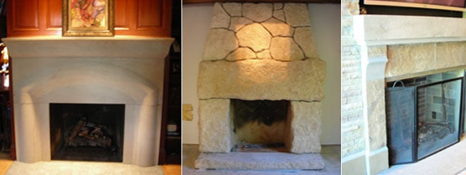 Custom Fireplace and Mantel Stonework Surrounds