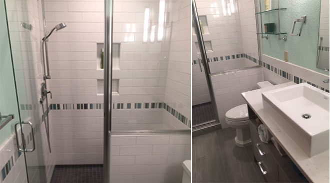 First Finishers General Contractor | Olympia Residence | Tile Bathroom Remodel