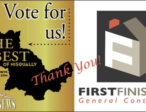 "Thank You for Voting First Finishers 2016 ""Best Contractor"" of Nisqually"