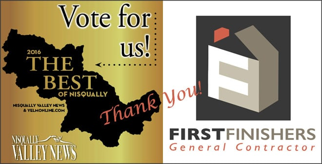 "Thank you for voting First Finishers 2016 ""Best Contractor"""